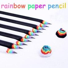 50 قطعة kawaii قلم رصاص مجموعة قوس قزح قلم رصاص للأطفال البيئية ورقة مدرسة أقلام الكتابة الجرافيت قلم رصاص الملونة بالجملة
