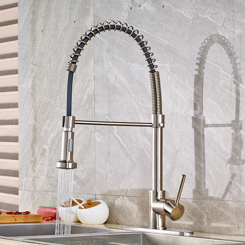 Nickel Brushed Finished Swivel Spout Kitchen Sink Faucet Single Handle/ Hole Mixer Tap with Cover Plate