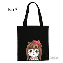 Free shipping 15 styles for choose Cute Cats Canvas Shoulder Bag Beauty Dressing Funny Attitude Eco-friendly storage friend gift