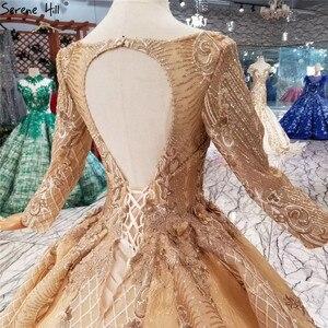 Image 5 - หรูหราทองแขนยาว High end ชุดแต่งงาน 2020 Handmade ดอกไม้ Sequined Bride ชุดแต่งงาน Real Photo CUSTOM Made