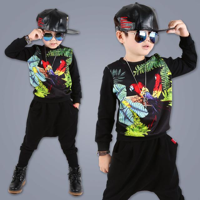 Otoño invierno ropa boy sets 2 unids (jersey + pants) de algodón deportes traje para niño moda infantil chicos ropa 4-12 años 2016012