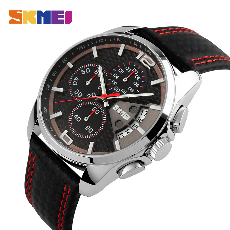 SKMEI Fashion Sport Mens Watches Top Brand Luxury Leather Strap 5Bar Waterproof Quartz Wristwatches Relogio Masculino 9106