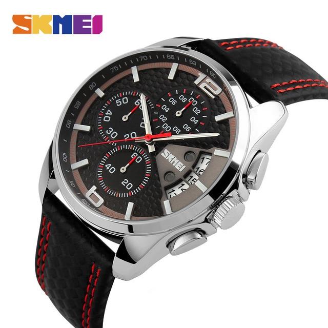 SKMEI Fashion Sport Mens Watches Top Brand Luxury Leather Strap 5Bar Waterproof Quartz Wristwatches Relogio Masculino 9106