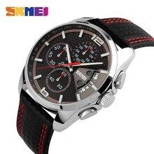 SKMEI אופנה ספורט Mens שעונים למעלה מותג יוקרה רצועת עור 5Bar עמיד למים קוורץ שעוני יד Relogio Masculino 9106