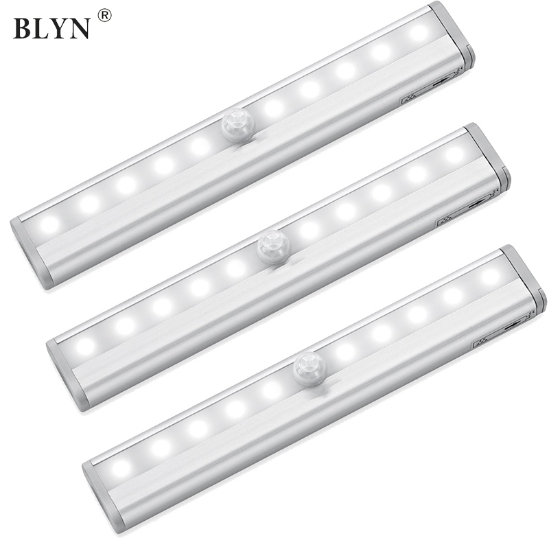 LED Under Cabinet Light PIR Motion Sensor Night Lamp With Adhesive Sticker Lighting For Kitchen Stairs Cupboard Closet