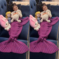 Kids Children Crocheted Adult Kids Mermaid Tail Cocoon Knit Lapghan Blanket