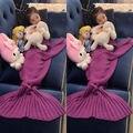 Niños de los cabritos de Punto Adultos Niños Mermaid Tail Cocoon Knit Lapghan Manta