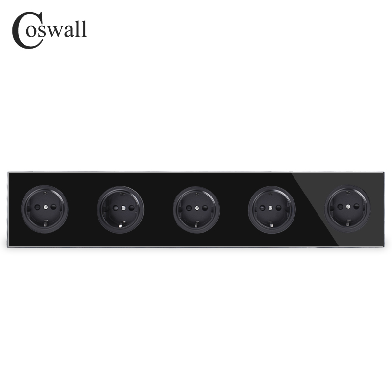 Coswall Crystal Tempered Pure Glass Black Panel 16A 5 Way EU Standard Wall Power Socket Outlet Grounded Child Protective Door