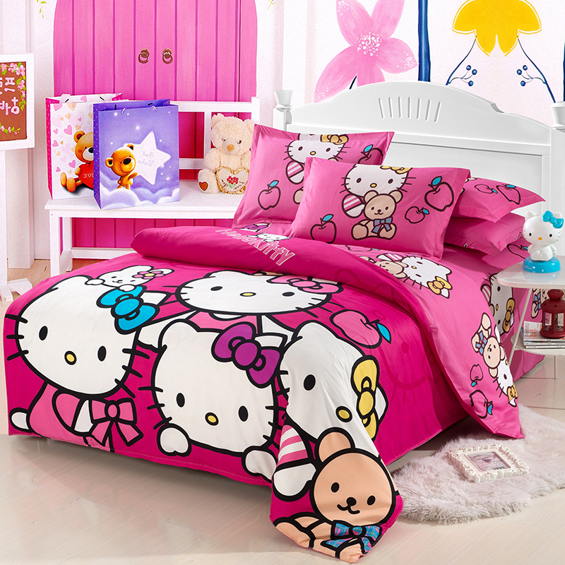 Home Textiles Bedclothes Children Cartoon Pattern Rose red HelloKitty good quality Bedding Sets Duvet Cover Bed Sheet 45