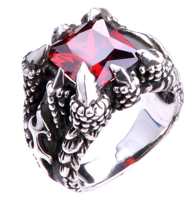Bague en argent Sterling 925 avec griffe de Dragon, bague en cristal noir rouge bleu avec griffe de Dragon, bijoux pour hommes, bagues en argent avec Dragon gothique