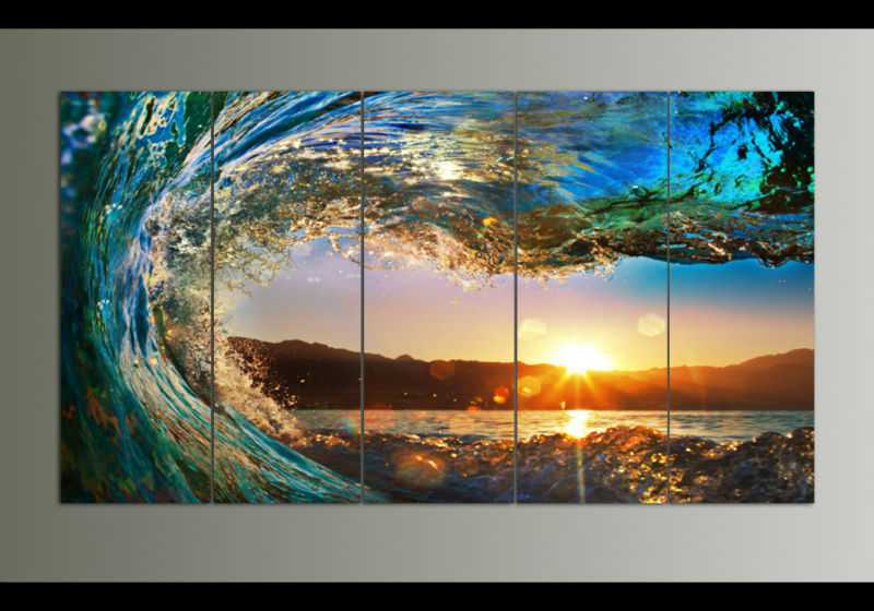 CANVAS ART 5 pieces Sunset on the beach with screw ocean wave wall painting printed on canvas home decor Free Shipping F/1044