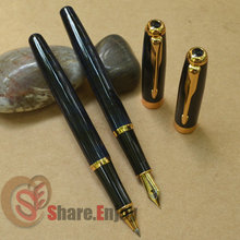 2 PCS BAOER 388 BLUE GRAIN GOLDEN MEDIUM NIB FOUNTAIN PEN + ROLLER BALL PEN