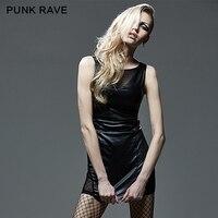 PUNK RAVE Black Tight Mesh Spliced Sleeveless Hollow Out Dress
