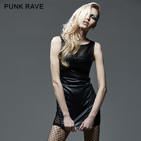 PUNK RAVE Black Tight Mesh Spliced Sleeveless Hollow Out Dress