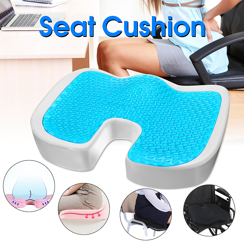 Gel Memory Foam Seat Cushion U Type Cooling Effect Orthopedic Coccyx Sciatica Tailbone Relief for Office