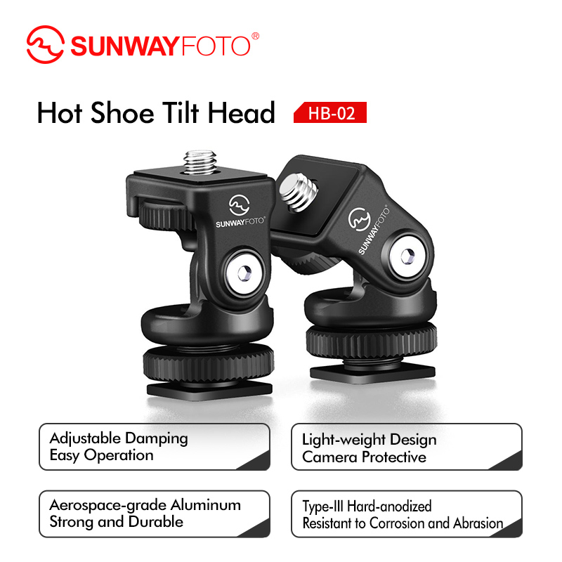 Sunwayfoto HB-02 Mini Tripod Hot Shoe Panoramic Video Mini Ball Head Ballhead Panorama for Head DLSR Camera Hotshoe Adapter Moun applicatori di etichette manuali