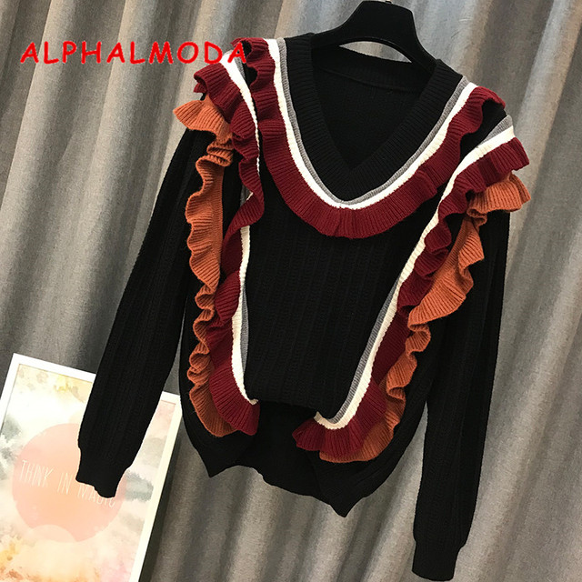 ALPHALMODA 2018 Winter Women New Ruffled Sweater Pullovers Long-sleeved Loose Casual Jumpers Preppy Style Female Sweet Knit Top