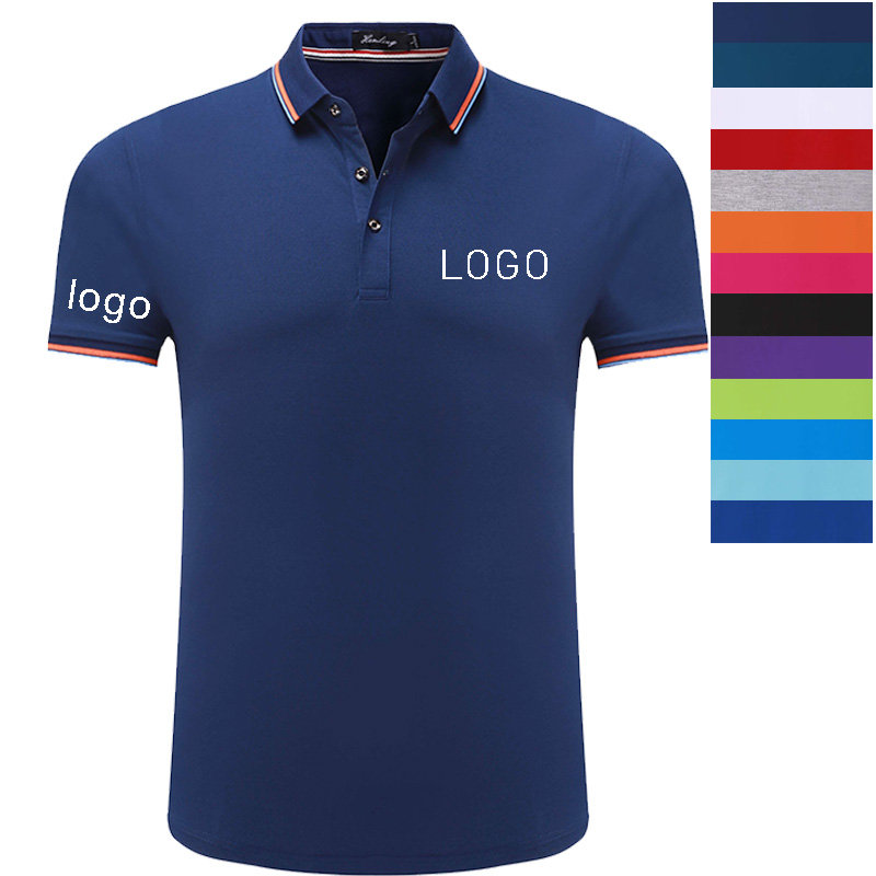 Custom Polo Shirt with Company Own Logo by Embroidery Digital silk Printing DIY Logo Service company hotel Staff uniforms in Polo from Men 39 s Clothing