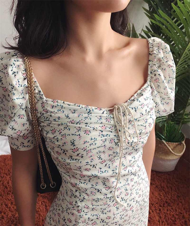 Summer Dress 2020 Retro Boho Women Tie Neck Floral Print Floral Mini Sexy White Dress Puff Sleeve Korean Vestidos