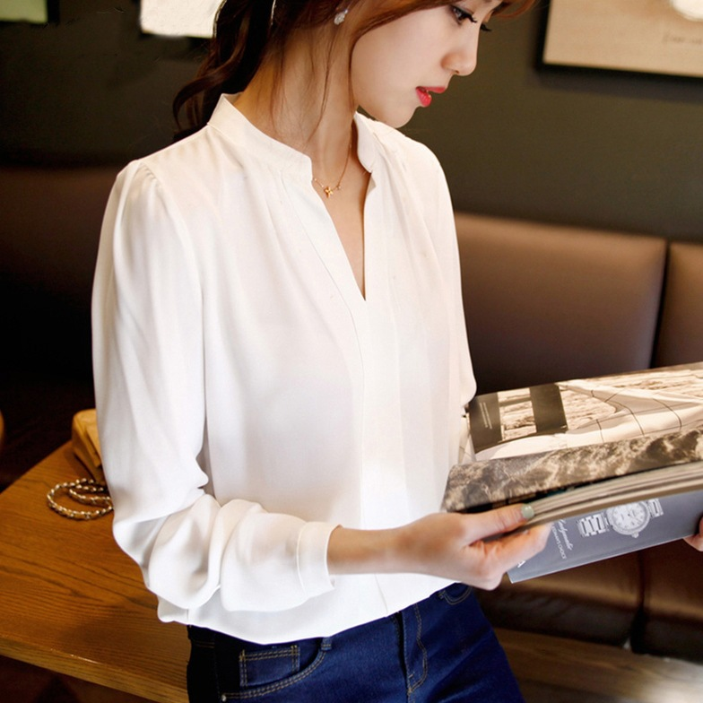 Fashion Vintage 2019 Irregular Thin Women Office Lady Shirt Top White Office Career Shirts V neck Fashion Casual Ladies Blouse in Blouses amp Shirts from Women 39 s Clothing