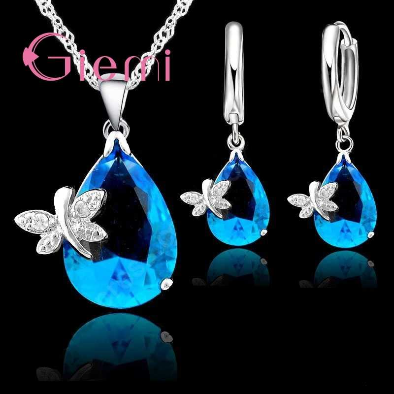 90% Off! Asli 925 Sterling Silver Jewelry Set Blue Water DROP Cubic Zirconia CZ Dragonfly Kalung Anting-Anting Pernikahan Aksesori