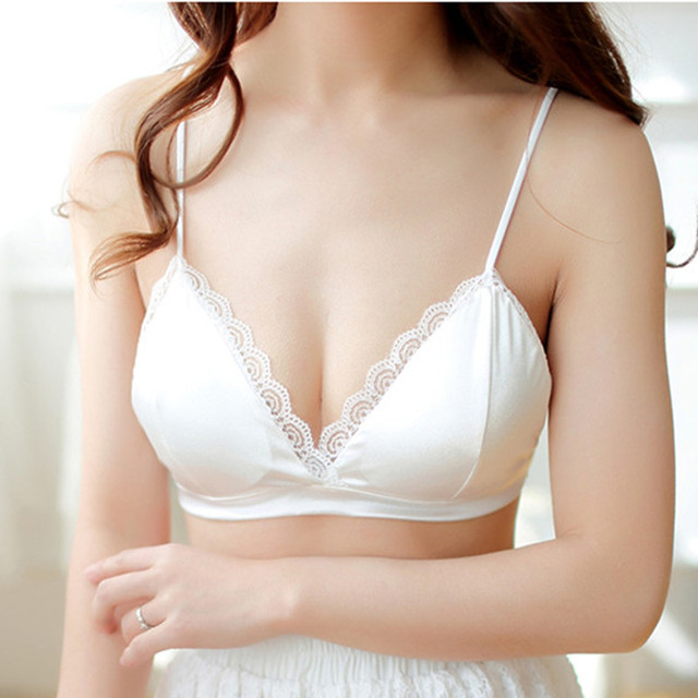 8b986858687 Soft Smooth White Silk Bralette Comfortable Wireless Women Bra Triangle  Lace Bralette Free Brassiere Sexy Ladies