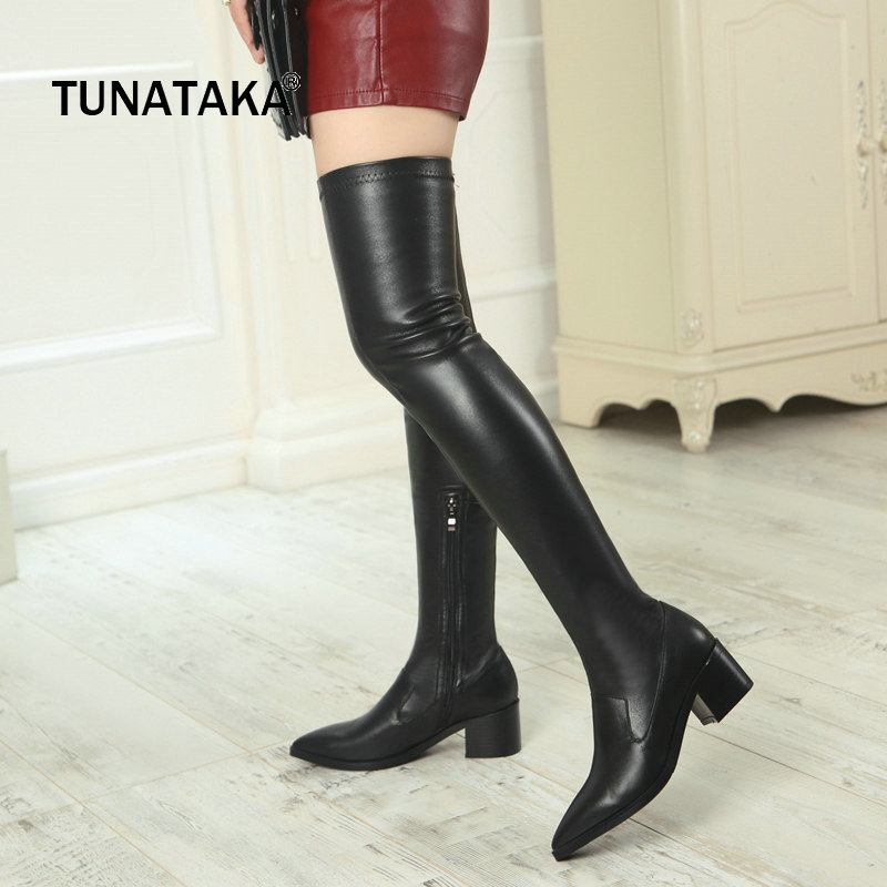 Genuine Leather Comfort Square Heel Zipper Woman Over The Knee Boots Fashion Pointed Toe Thigh Boots Winter Stretch Boots Black ...