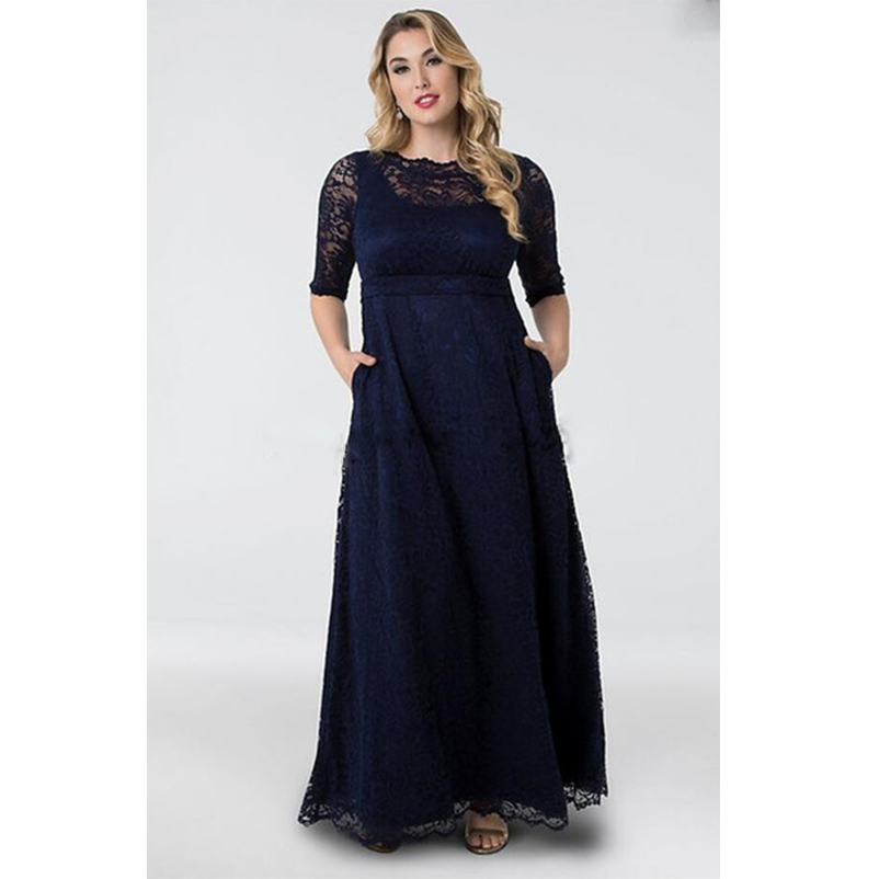 d97be3945b Modest Lace Mother of the Bride Dresses with Pocket Half Sleeves Dark Navy  Long Plus Size Wedding Guest Dresses Formal 2018