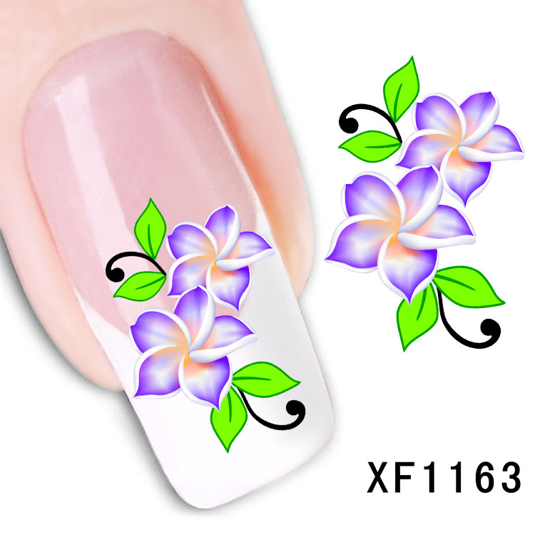 1 Sheet Nail stickers flower simulation flower watermark nail stickers affixed to the tube row of pens a month XF1163