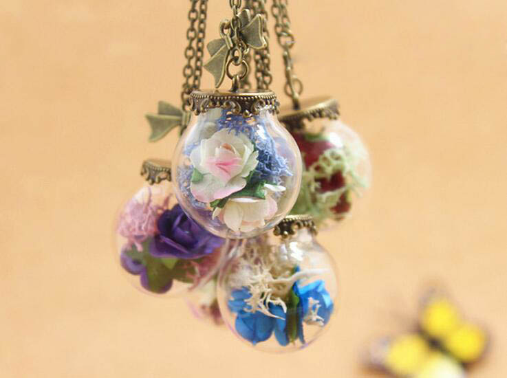 NEW Preserved moss Paper Rose  Glass Vial pendant Necklace  Glass bubble necklace Wish Bottle Pendant Necklace 25*15mm glass