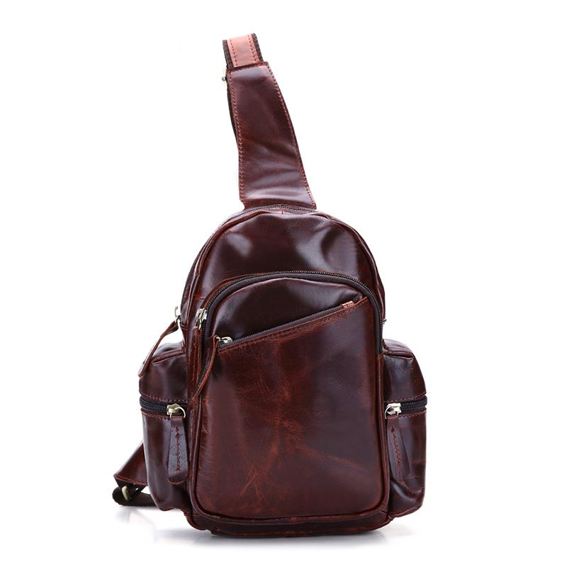 High Quality Genuine Oil Wax Leather Men Single Shoulder Cross Body Bag Travel Rucksack Casual Chest Back Pack Messenger Bags hot sale men pu leather shoulder cross body bag rucksack high quality messenger bags fashion casual male single chest back pack