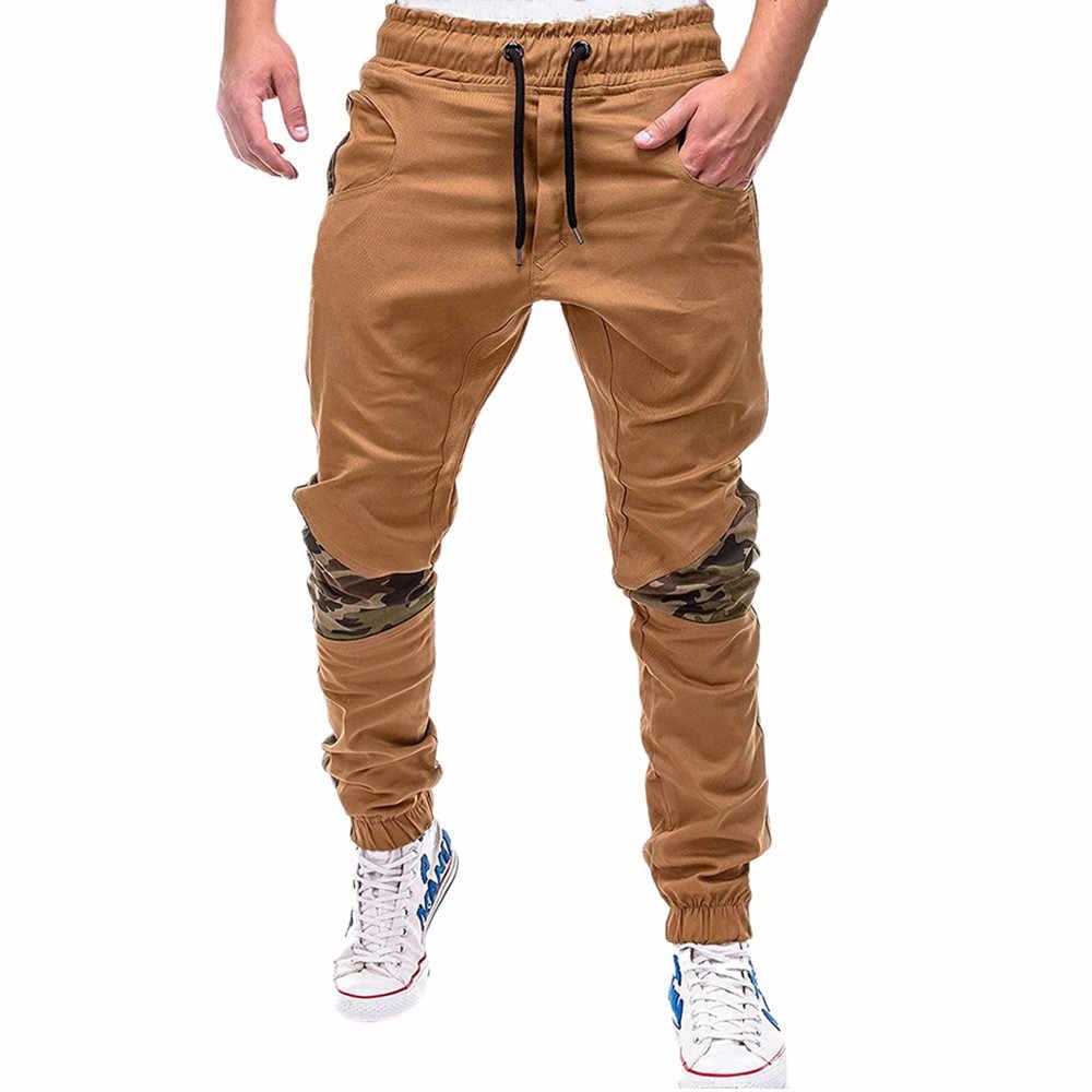 Lente Zomer mannen Broek Toevallige Elastische Taille Slim fit Lange Broek Mode Mannelijke Joggingbroek Ladingen Joggers Geplooide mid W425