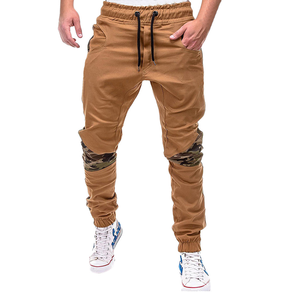 Spring Summer Men's Pants Casual Elastic Waist Slim Fit Long Trousers Fashion Male Sweatpants Cargos Joggers Pleated Mid W425