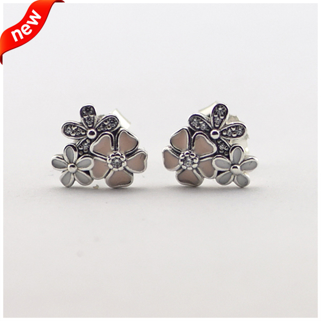 Compatible with European Jewelry Poetic Blooms Silver Stud Earrings With Clear CZ 925 Sterling Silver Jewelry DIY 08E052