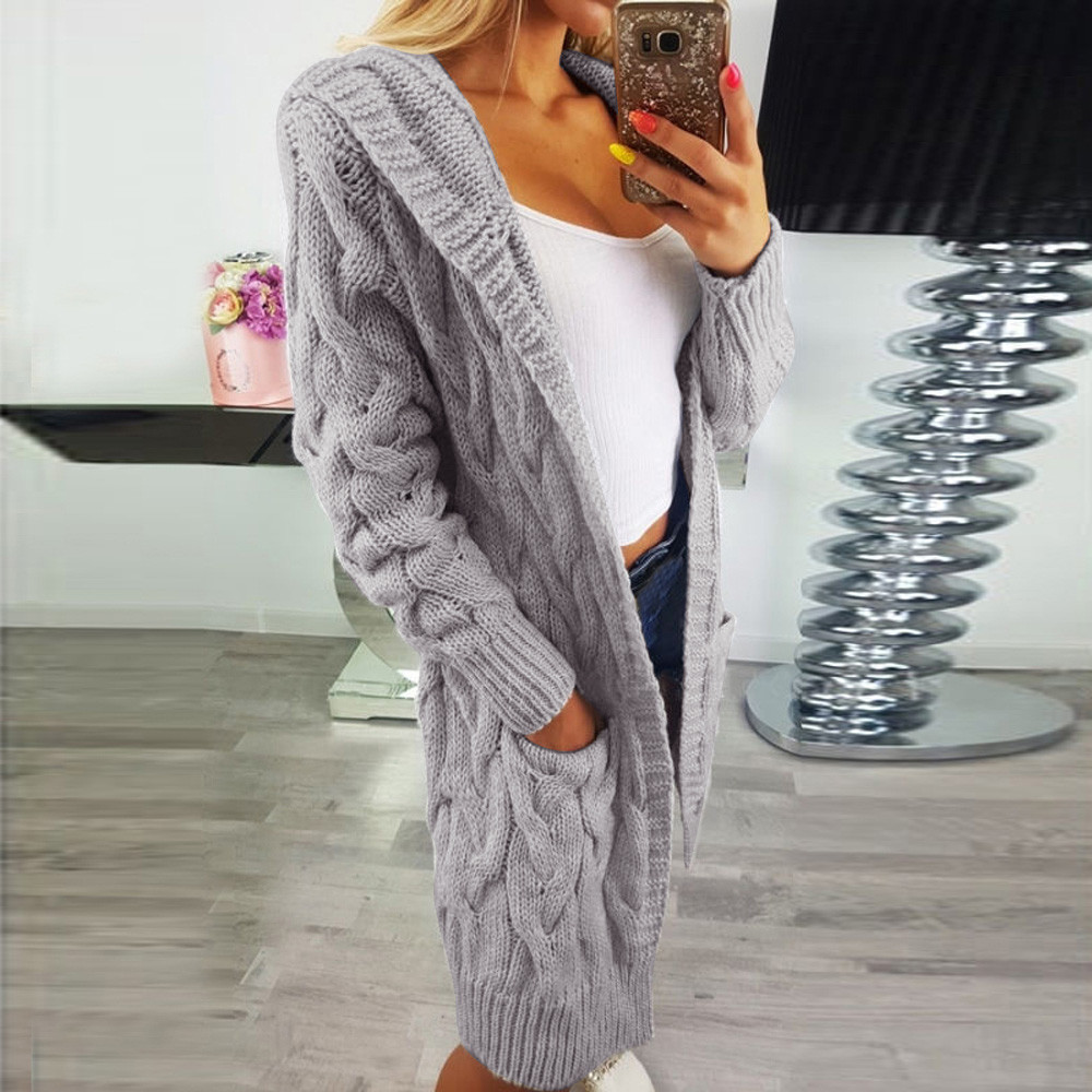 Coat Cardigan Outwear Oversized Women Sweater Long-Sleeve Knitted Loose title=
