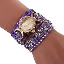 2017 Luxury Women's Bracelet Watches Oval Fashion Casual Ladies Dress Watches Diamond Purple PU Leather Band Quartz Wristwatches