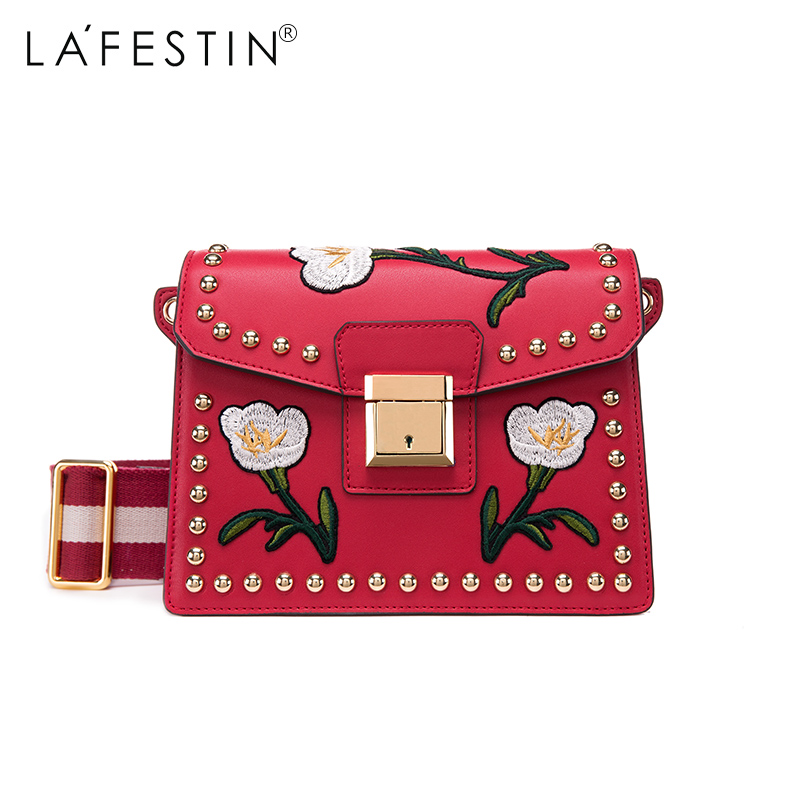 LAFESTIN Embroidery Shoulder Real Leather Bag 2017 Fashion Women Designer Bags Crossbody Luxury brands Bag bolsa lafestin luxury shoulder women handbag genuine leather bag 2017 fashion designer totes bags brands women bag bolsa female