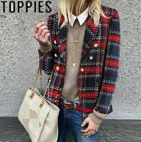 2019 Spring Women Casual Loose Plaid Woolen Jacket Double Breasted Tweed Plaid Suit Jacket veste femme bureau