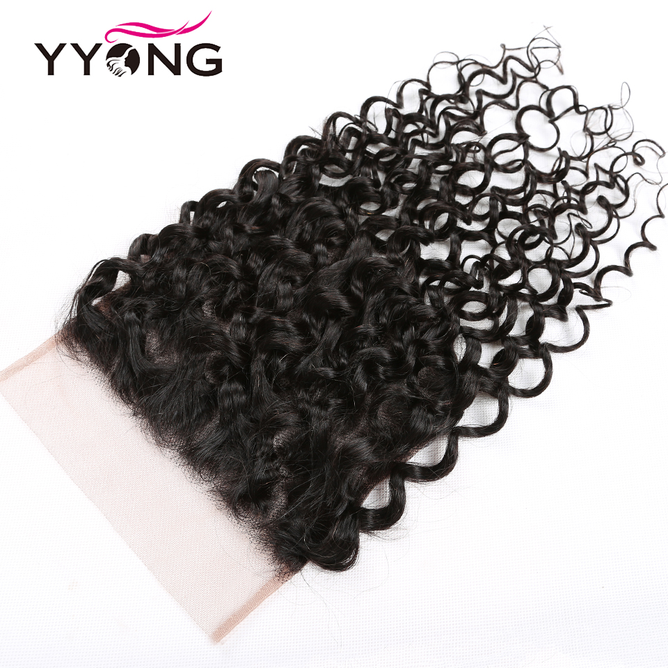 Yyong 7x7 Lace Closure With Bundles Malaysian Water Wave Human Hair Bundles With Closure Remy Hair 8-26inch Bundles With Frontal