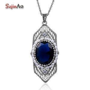 Image 1 - Szjinao Fashion Natrual Pearls Pendant Vintage Fluorite Blue Stone Women 925 Sterling Silver Sapphire Jewelry islam Free Locket