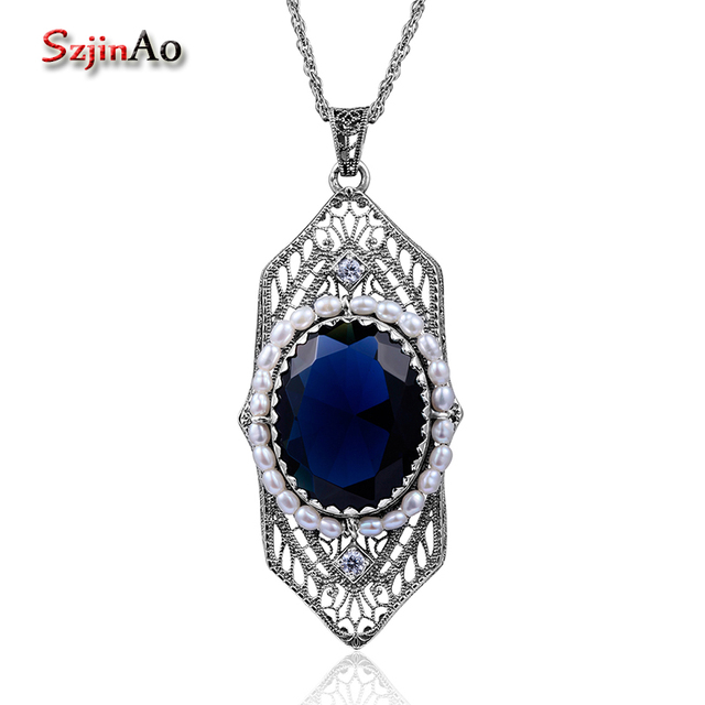 Szjinao Fashion Natrual Pearls Pendant Vintage Fluorite Blue Stone Women 925 Sterling Silver Sapphire Jewelry islam Free Locket