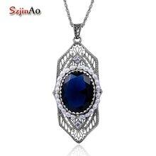 Szjinao Mode Natrual Perlen Anhänger Vintage Fluorit Blau Stein Frauen 925 Sterling Silber Saphir Schmuck islam Freies Medaillon