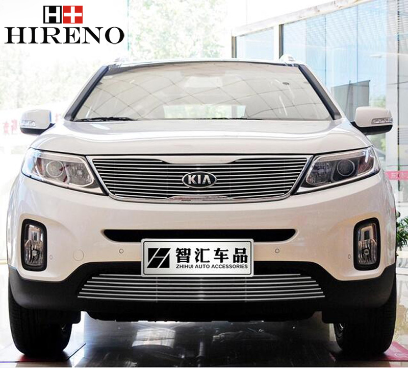 Stainless Steel Car Racing Grills For KIA Sorento 2009-2016 Front Grill Grille Cover Trim Car styling stainless steel car racing grills for mazda cx 5 2013 2016 front grill grille cover trim car styling