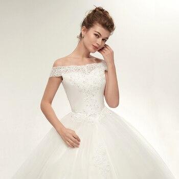 Fansmile Vestidos de Noivas Vintage White Long Train Wedding Dresses 2019 Plus Size Customized Lace Ball Bridal Gowns FSM-121T 5