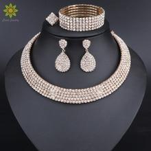 Wedding-Jewelry-Sets Necklace Earrings Choker Bride Bracelet Crystal Rhinestone And Classic