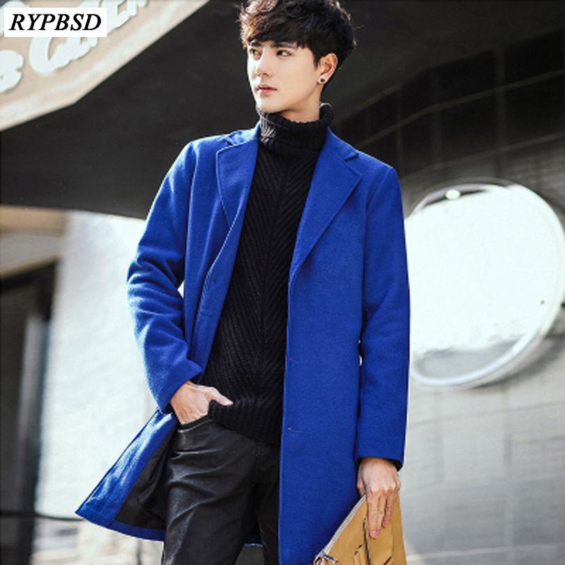 8 Colors New 2020 Mens Woolen Coat Korean Fashion Winter Coat Long Wool Jacket Cashmere Single Breasted Men Overcoat