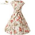 Sishion floral dress 2017 cap sleeve o pescoço na altura do joelho festa elegante grande balanço 50 s 60 s vintage mulheres summer dress com cinto 234