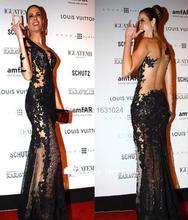 Charming Schulter Meerjungfrau Schwarz Spitze Appliques Durchsichtig Celebrity Dress 2016 ZAHY Abendkleider WL107