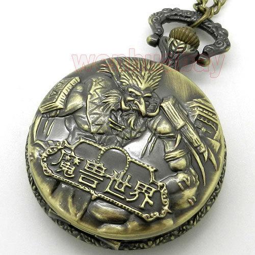 Vintage Bronze World of Warcraft Steampunk Pocket Watch Best Gift To Game Boys