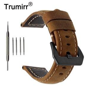 Ремешок для часов из натуральной кожи, ремешок из нержавеющей стали для часов, 20 мм, 22 мм, 24 мм, 26 мм